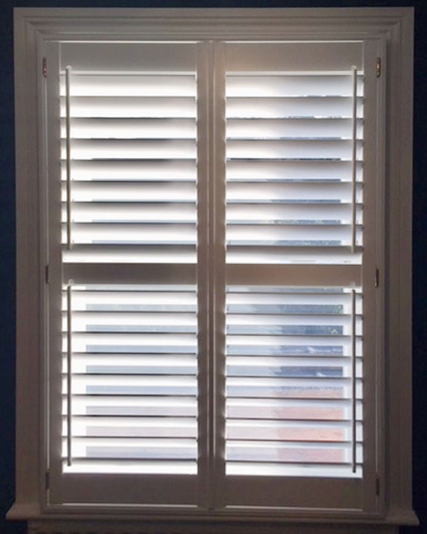 Half open wooden shutters