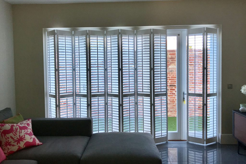 Foldable plantation shutters for patio doors 2
