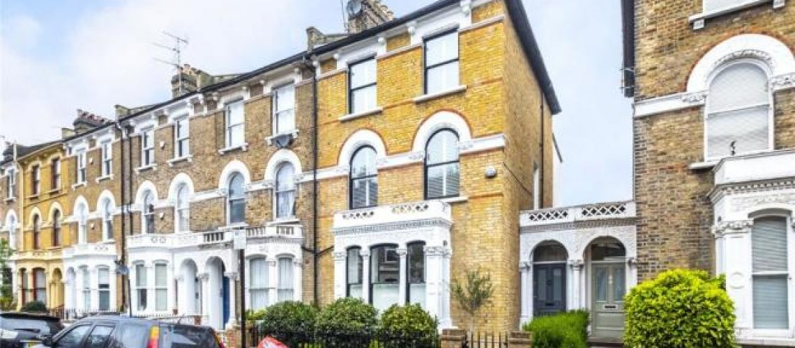UK terraced housing with large downstair windows